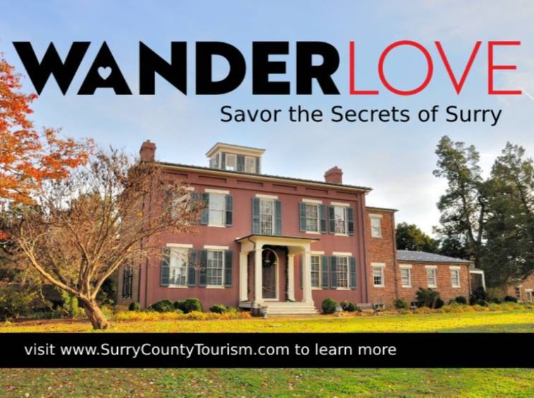 Picture of Chippokes mansion with words Wander Love Savor the Secrets of Surry